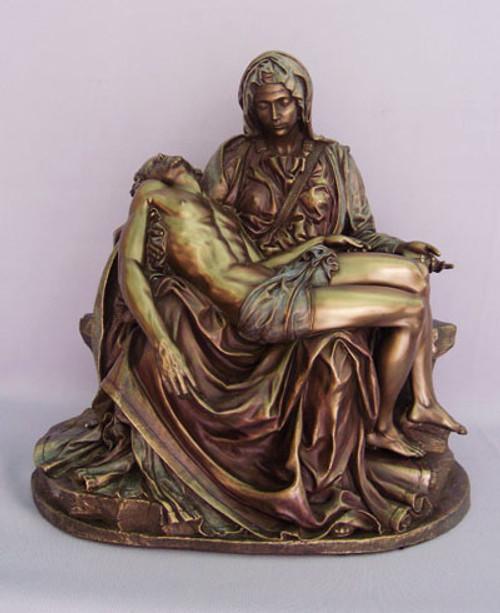 "10"" Pieta Statue | Hand-Painted Cold-Cast Bronze"
