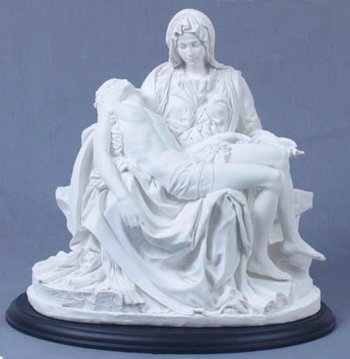 "10.5"" Pieta Statue | White Resin on Black Wood Base"