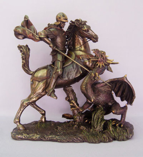 "12"" St. George Slaying Dragon Statue 