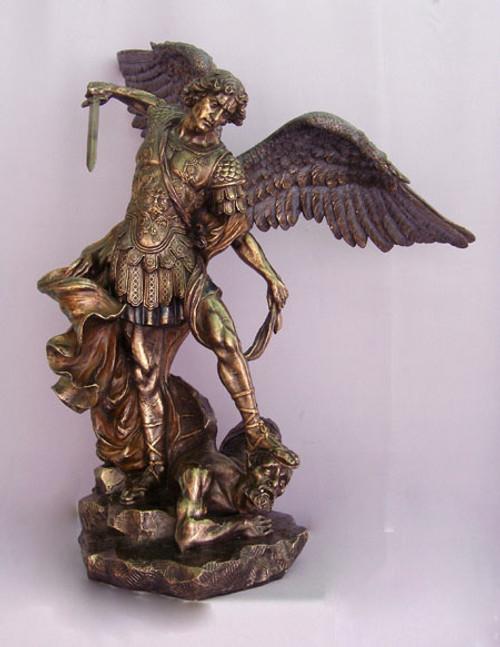 "29"" St. Michael Statue | Hand-Painted Cold-Cast Bronze"