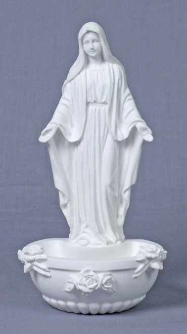 "7.5"" Our Lady Of Grace Holy Water Font 