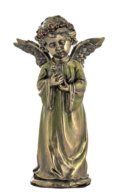 "8"" Angel Holding Dove Statue   Cold-Cast Bronze"