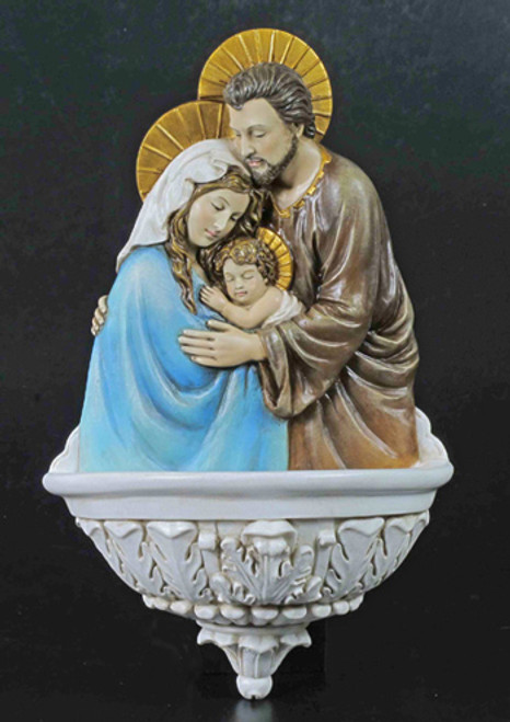 """9"""" Holy Family Holy Water Font   Hand-Painted Resin"""