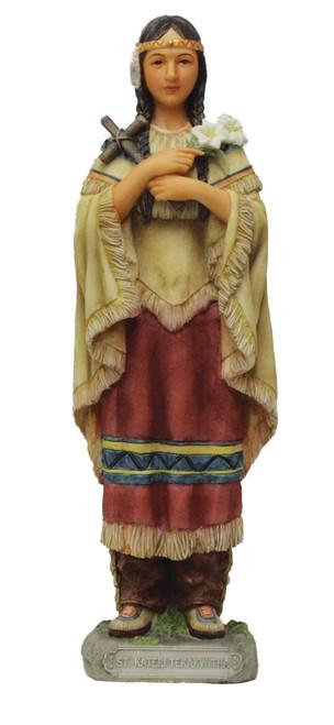 "8"" St. Kateri Tekawitha Statue | Hand-Painted Resin"