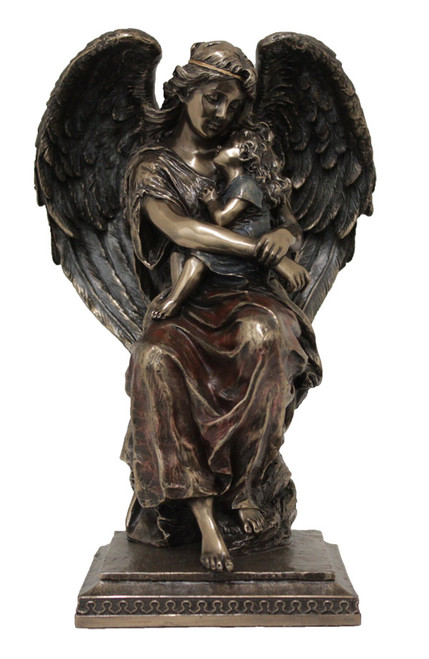 """8.25"""" Guardian Angel with Child Statue   Cold-Cast Bronze"""
