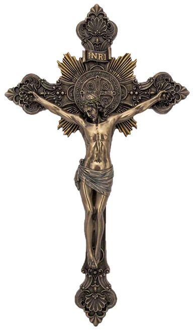 "8"" St. Benedict Crucifix | Cold-Cast Bronze"