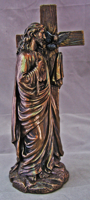 """11"""" Sacred Heart of Jesus Leaning on Cross Statue   Cold- Cast Bronze"""