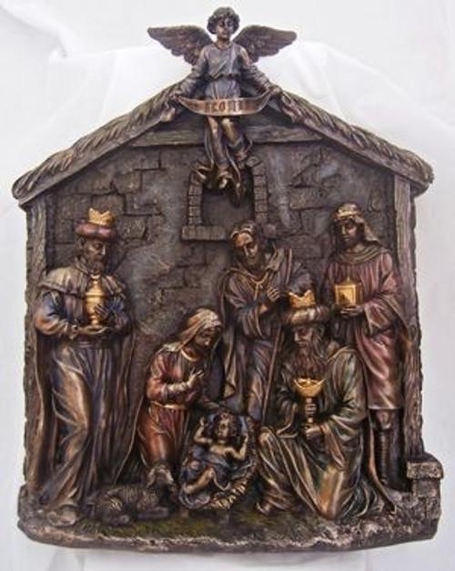 "16"" Nativity Relief Plaque | Cold-cast Bronze"