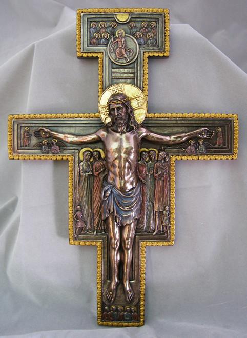 "16"" San Damaino Crucifix   Hand-Painted Cold-Cast Bronze"