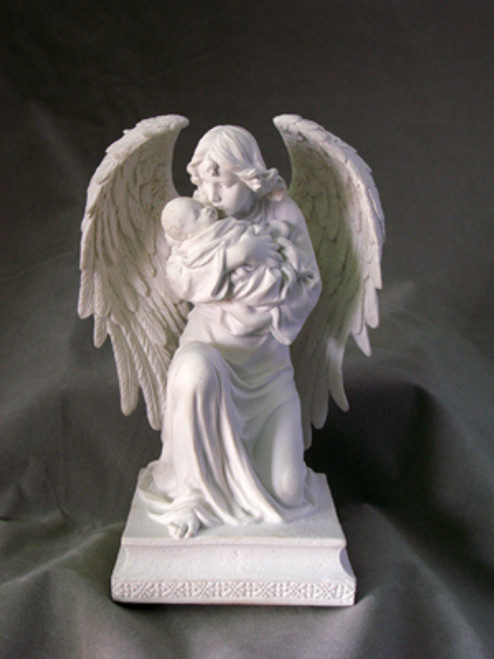 """7"""" Guardian Angel & Child Statue   White Resin"""