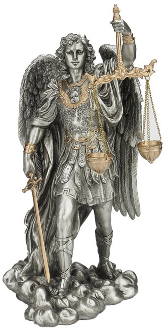 "11"" St. Michael Scales Of Justice Statue 