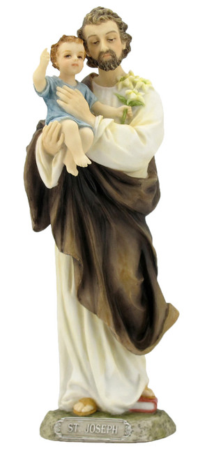 "8"" St Joseph & Child Statue | Hand-Painted Resin"