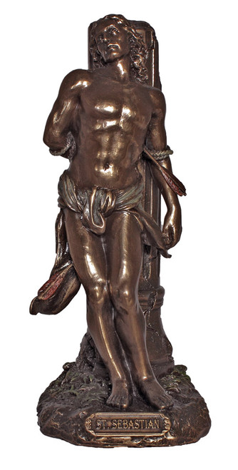 "8"" St. Sebastian Statue | Patron Saint of Athletes | Hand-Painted Cold-Cast Bronze"
