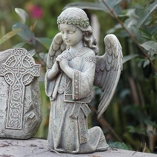 "12.25"" Celtic Irish Kneeling Angel   Resin/Stone Mix"