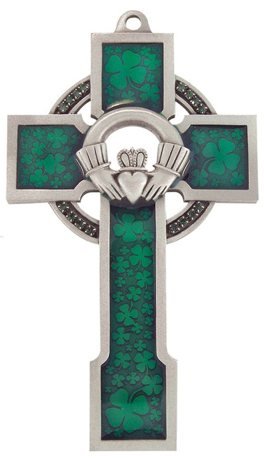 "5"" Claddagh Celtic Cross with Green Shamrock Epoxy Finish"