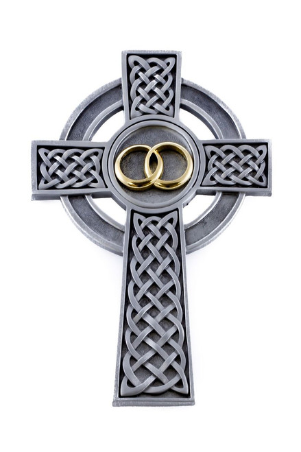 "8"" Fine Pewter Knotted Celtic Wedding Cross"