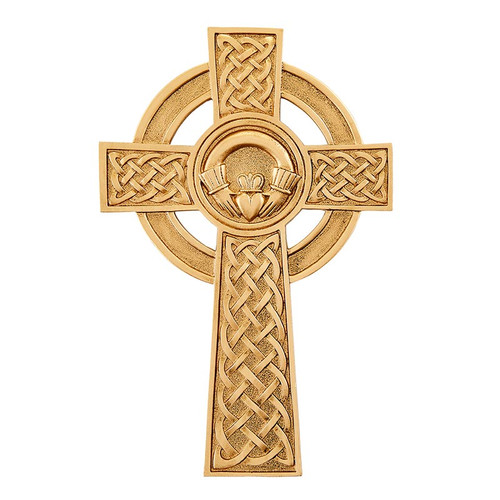 "8"" Pewter Knotted Celtic Claddagh Cross 