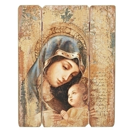 "26"" Madonna & Child Wood Pallet Decorative Panel"