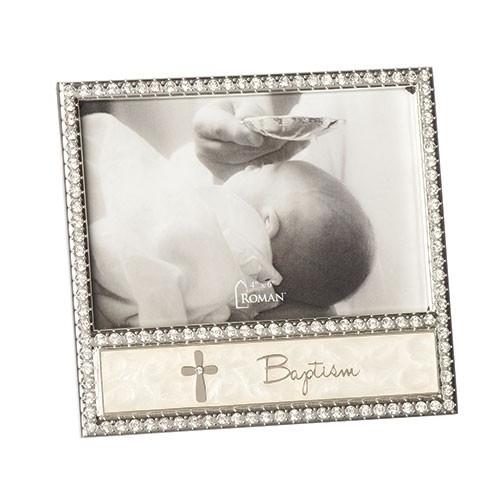"6"" Baptism Cross Enamel Frame | Holds 4""x 6"" Picture"