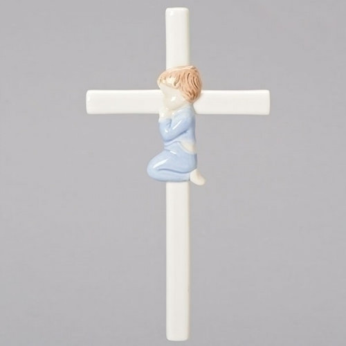 "7.5"" Praying Baby Boy Cross 
