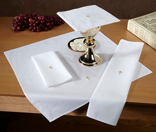 Fleur-de-Lis Cross Altar Linens | Poly-Cotton | Red or Gold | Packs of 12