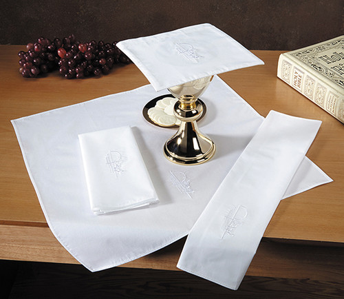 Eucharistic Embroidered Altar Linens | Poly-Cotton | White | Packs of 3