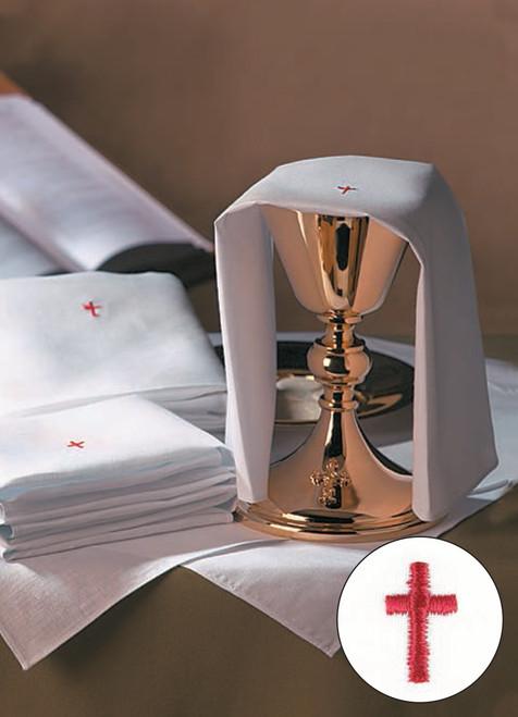 Red Cross Altar Linens | Multiple Materials | Packs of 12