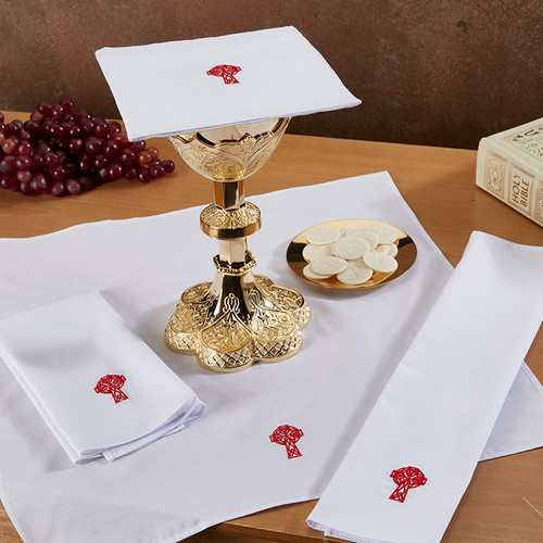 Assorted Embroidered Cross Altar Linens | Linen-Cotton | Multiple Designs | Packs of 3