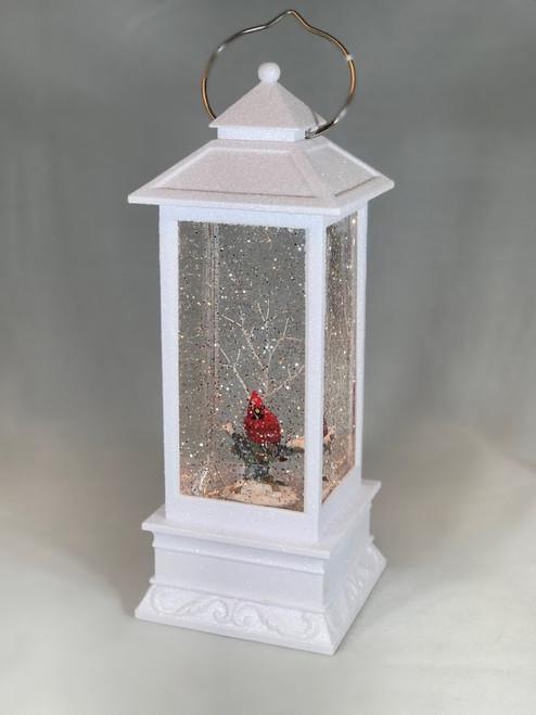 "11"" LED Snow Globe Cardinal Lantern | Ships Same Business Day"