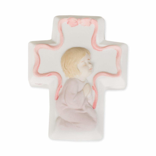 Baby Girl Porcelain Cross Box with Insert & Rosary