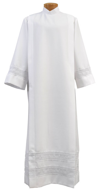 #4882 Lace Band Cassock Alb | White Linen Weave Polyester