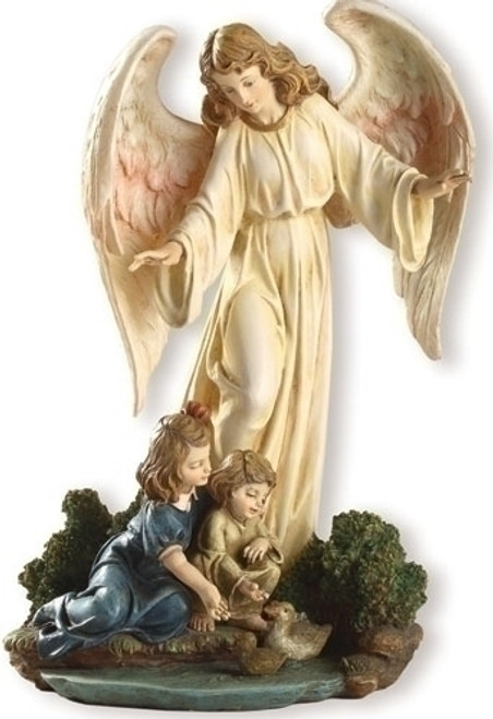 """8.5"""" Guardian Angel With Children Statue   Resin/Stone"""
