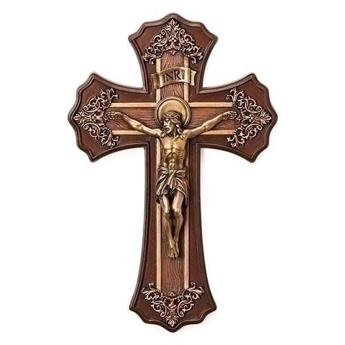 "10.25"" Victorian Style Crucifix | Oak & Antique Gold Finish"