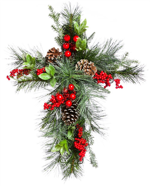 """20"""" Holly & Pinecone Floral Wall Cross Decor"""