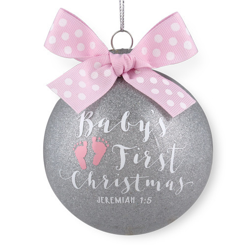 4 Pink Babys First Christmas Ornament Jeremiah 15 Glass