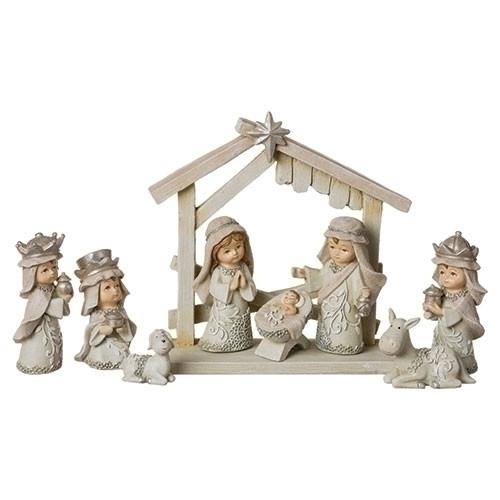 """9 Piece 3"""" Pageant Nativity Set   Resin/Dolomite"""