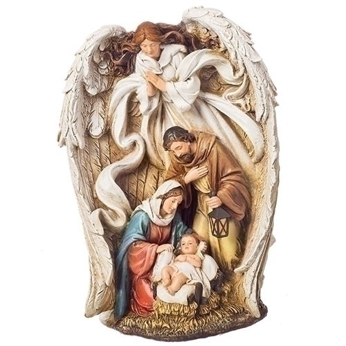 """9.75"""" Angel Over Holy Family Statue 