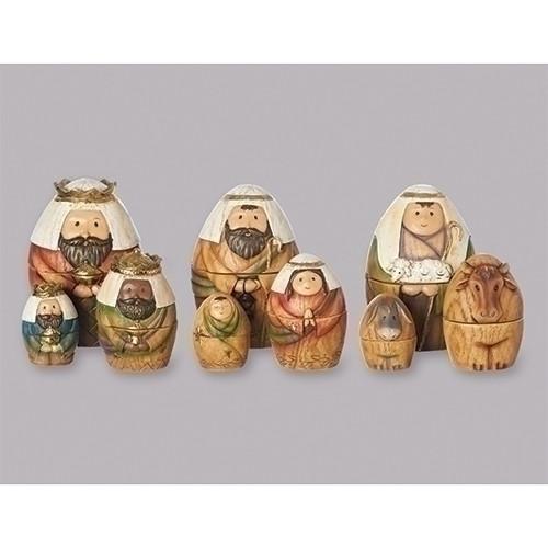 "9 Piece 6"" Nesting Nativity Set   Resin/Dolomite"