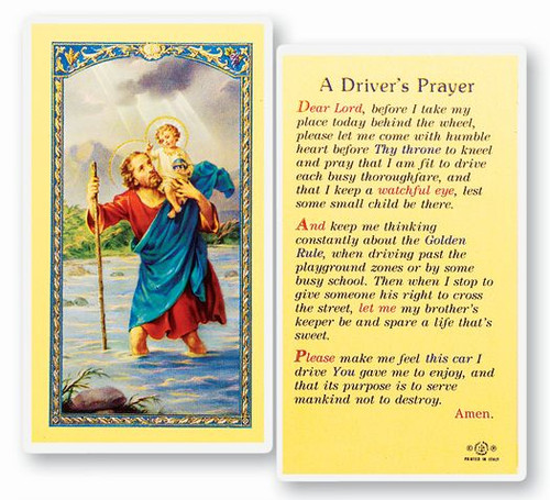 St Christopher's Drivers Prayer Holy Card
