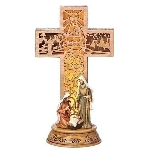 "11"" LED Holy Family Cross Figure | Polyresin"