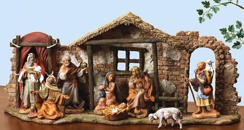"5"" Italian Fontanini Nativity Full Set | 10 Pieces | Resin Stable"