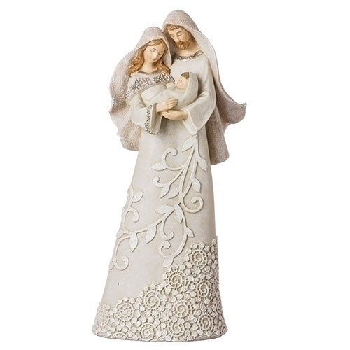 """9.5"""" Ivory Lace Holy Family Figure 