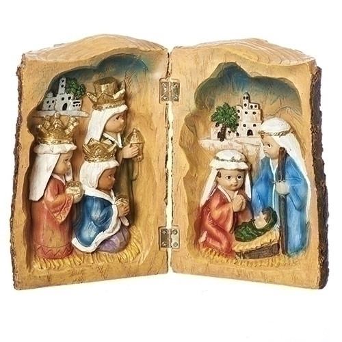 """6.5"""" Log Book Kids Pageant Holy Family & Three Kings   Resin/Dolomite"""