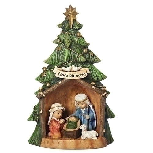 "11.5"" Christmas Tree Figure with Holy Family Pageant 