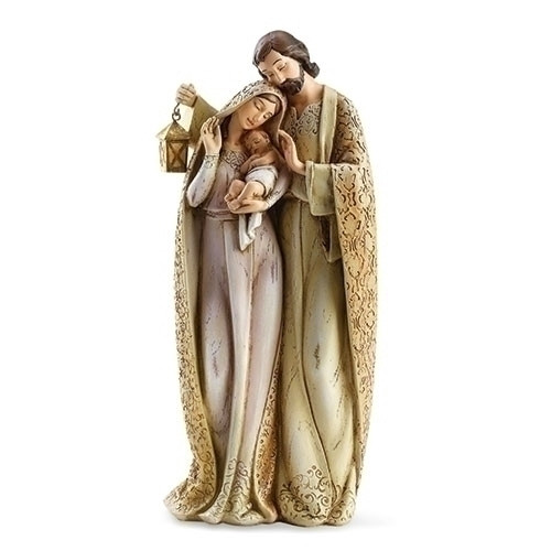 "10"" Faux Wood/Ivory Finish Holy Family Figure with Lantern 