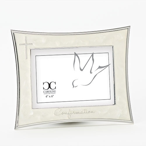 "Ivory Confirmation Frame with Silver Cross | Holds 3.5"" x 5"" Picture"