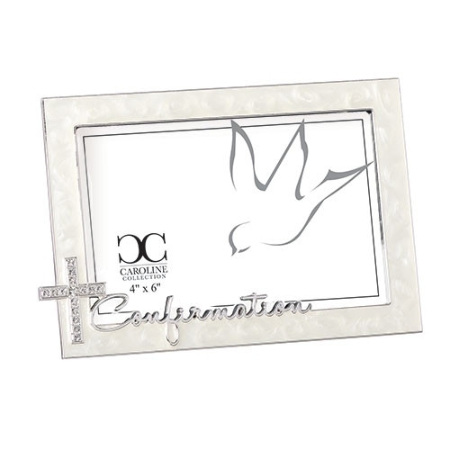"Ivory Confirmation Frame with Rhinestone Cross | Holds 4"" x 6"" Picture"