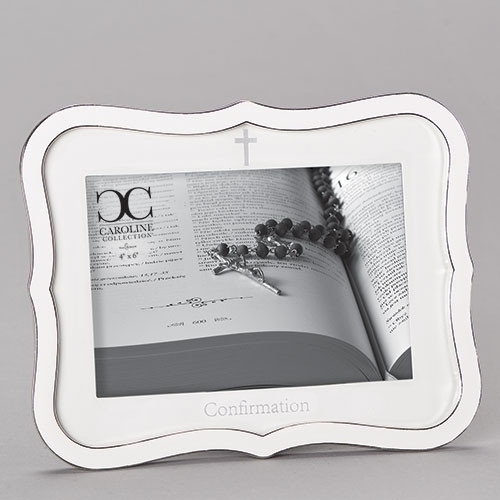 "White Confirmation Frame | Holds 4"" x 6"" Picture"