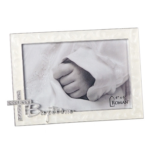 "4.75"" Rhinestone Cross Baptism Frame 