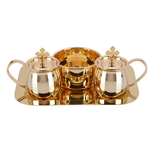 Cruet Set with Tray and Bowl | Brass